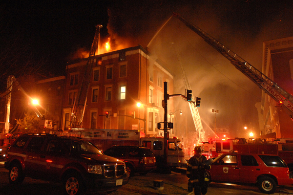 12/07/10 -- Baltimore, MD -- Baltimore firefighters work on a multiple-alarm dwelling fire on Charles Street in Mount Vernon.  Photo by Jerry Jackson/Baltimore Sun Staff